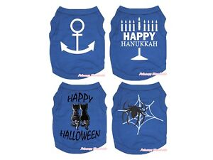 Royal Blue Top T-Shirt Hanukkah Halloween Pet Cat Dog Puppy One Piece Clothes