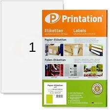 Universal Etiketten 210 x 297 mm weiß selbstklebend 25 Labels Klebepapier DIN A4
