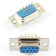 100Pcs D-SUB DIP 9 Pin Female Round Pin 2 Row Straight PCB Connector DB9F