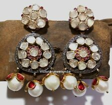 Victorian Polki &Diamond 925 Silver Natural Pearl Ruby Meenakari Dangle Earring