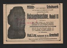 ARNSTADT, Werbung 1916, Rud. Ley Maschinenfabrik AG Holznagel-Maschine