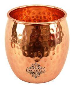 Hammered Copper Glass Tumbler, Serveware & Drinkware , Ayurveda Healing , 590 Ml