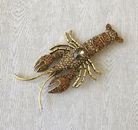 Unique Large Lobster pin brooch gold  tone metal with crystals