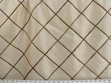 Drapery Fabric Faux Dupioni Silk Solid Embroidered Jute Diamond Design - Cream