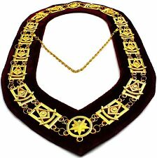 REGALIA MASONIC PAST MASTER GOLDEN METAL CHAIN COLLAR Maroon Velvet ~~~~~
