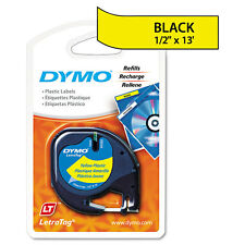 DYMO LetraTag Plastic Label Tape Cassette, 1/2in x 13ft, Hyper Yellow - DYM91332