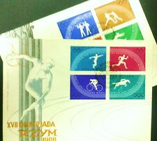 POLAND STAMPS FDC Fi1022-29B Sc914-21A Mi1166-73A - Olimpic Games Rome, 1960