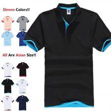 Men's Polo Shirt Golf Sports Cotton T Shirt Jersey Casual Striped Short Sleeve