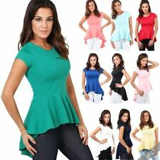 Polyester Short Sleeve Peplum Solid Tops for Women