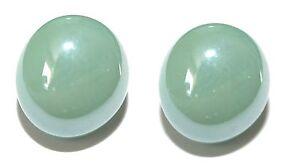 IRIDESCENT LIGHT GREEN GLASS GEM CUFF LINKS (018a)