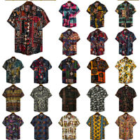 Men Summer Hawaiian Shirts Short Sleeve Casual Tops T-shirt Floral Blouse S-3XL