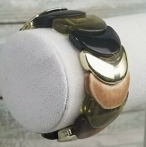 Brown Green Gold Tone Fashion Stretch Bracelet Glass Wood Elastic Half Circle