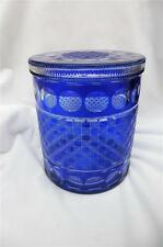 VINTAGE BOHEMIAN COBALT BLUE CUT TO CLEAR GLASS COOKIE BISCUIT CANDY JAR & LID