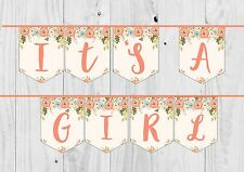 IT'S A GIRL FLORAL NEUTRAL BABY SHOWER BUNTING BANNER. Girl.