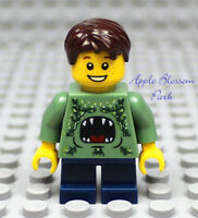 NEW Lego City MINIFIG BOY w/Green Monster Torso/Short Blue Legs & Brown Hair
