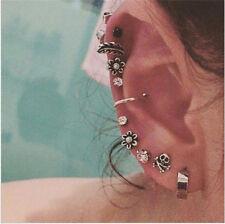 6/9/8pcs/set Women Rhinestone Ear Clip Leaves Feather Earrings Ear Stud Jewelry