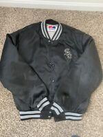 Vintage Chicago White Sox Black Satin Insulated Baseball Jacket Swingster Size L