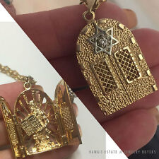 Diamond 14K Yellow Gold Opening Doors Jewish Moses Pendant & 18K Necklace