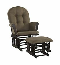 Angel Line Windsor Glider and Ottoman Set, Espresso with Chocolate Cushion