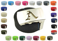 """Canvas Military Web Belt & BIG """"A"""" Silver Buckle 48, 54, 60, 72 Inches 25 Color"""