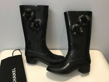 Authentic Chanel Rubber Black Rain Boots with Camelia and CC logo 36