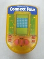 Vintage Electronic Handheld Connect Four Game Clear Yellow Milton Bradley 1995