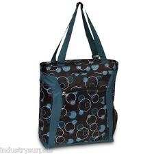 Everest Teal Bubbles / Brown Tote Bag Padded Laptop Compartment 14 x 16.5 x 5