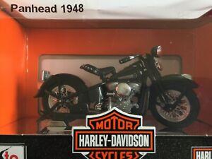 Harley Davidson PANHEAD FL 1948 Noir Maisto 1:18 Neuf sur socle chrome Moto