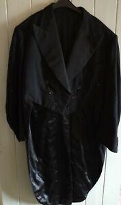 Vintage 1920s Burton Montague Tail Coat /Morning coat Black Wool secret pocket.