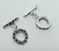 2 Pieces Toggle Clasps Hooks 925 Sterling Silver Bali Toggles 15mm