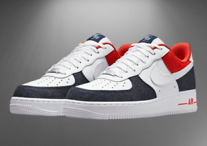 "Nike Air Force 1 '07 LX Shoes ""Denim"" White Blue Red DJ5174-100 Men's Multi Size"