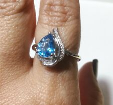 Blue Topaz & Diamond Ring in Sterling Silver Size 7 US, Europe 55 1/4