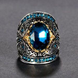 Vintage 925 Silver Carve Design Sapphire Aquamarine Gemstone Women Jewelry Rings