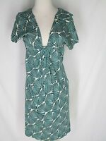 Tocca Green White Knit Dress 8 Draped Front