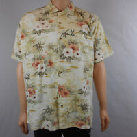 Weekender Mens Hawaiian Floral Rayon Shirt Button-Front Short Sleeve L Large