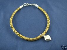Gold Braided Leather Bracelet with Sterling Heart Charm