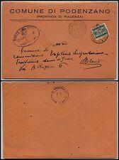RSI-AFFRANCATURA D'EMERGENZA-25c SEGNATASSE(SS37)-Busta PODENZANO 13.5.1944