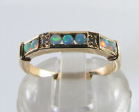9k 9CT GOLD AUS OPAL DIAMOND ETERNITY BAND ART DECO INS STACK RING FREE RESIZE