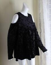 NWT Ruff Hewn -Sz 2X BLACK Art-Wear Rich Velvet Cold Shoulder Blouse Shirt Top