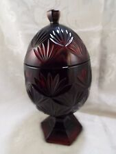 Vintage Cristal D' Arques Durand Luminarc Ruby Red Glass Egg Pedestal Candy Dish