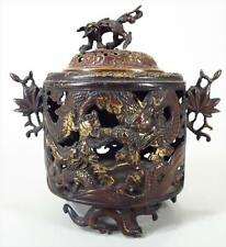 Antique Chinese Gilt Bronze Dragon Censer Incense Burner 19th Century Kylin Foo