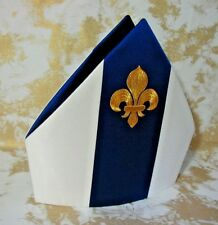 Bishop's Mitre, VESTMENT, Marian Style, Royal Blue Bands, Fleur de lis, any size