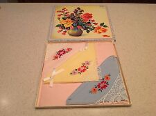 BNIB From Old Stock Ladies Vintage Handkerchiefs Hankies Embroidered Flower Lace