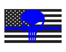Thin Blue Line w/ Punisher American Flag Police Flag 3x5 Vinyl Decal Sticker