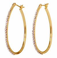 "Swarovski Elements Crystal 1 1/2"" Summerset Hoop Earrings Gold Authentic 7232v"