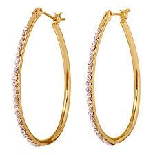 """Swarovski Elements Crystal 1 1/2"""" Summerset Hoop Pierced Earrings Gold 7232z"""