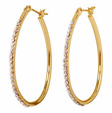 "Swarovski Elements Crystal 1 1/2"" Summerset Hoop Pierced Earrings Gold 7232x"