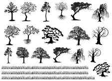 "Tree Variety Grass Strips 5""X7"" Card Black Fused Glass Decals 16CC764"
