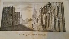 1816 J Cooke Print View High St. Oxford University College Oxfordshire Engraving