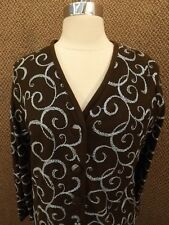 Amazing Vtg 50s NEW NOS Brown Orlon Acrylic Blue Embroidered Cardigan Sweater S